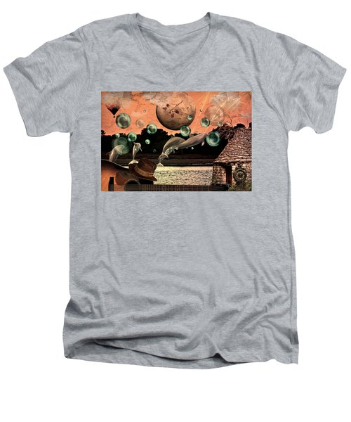 Men's V-Neck T-Shirt featuring the mixed media Dolphin Dreams by Ally  White