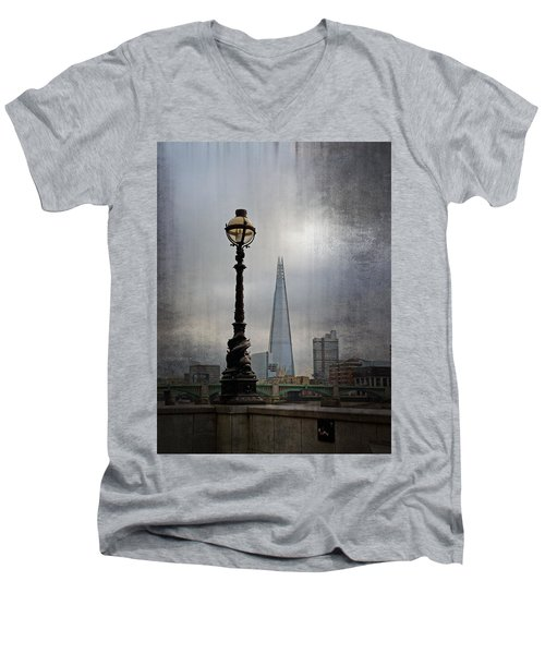 Dolphin Lamp Posts London Men's V-Neck T-Shirt by Lynn Bolt