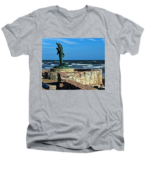 Dolphin Statue Men's V-Neck T-Shirt by Judy Vincent