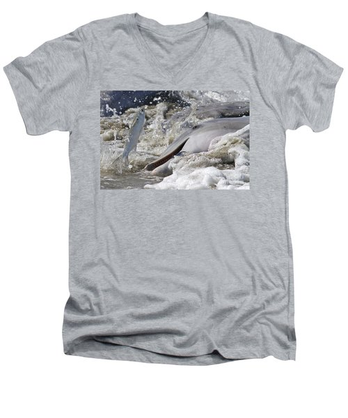 Dolphin Strand Feeding 2 Men's V-Neck T-Shirt