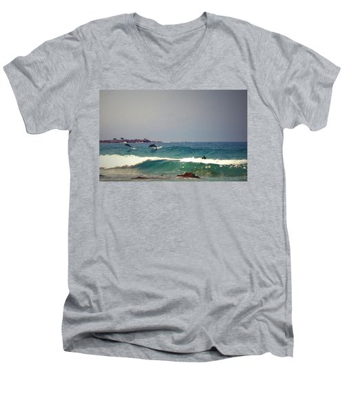 Dolphins Swimming With The Surfers At Asilomar State Beach  Men's V-Neck T-Shirt