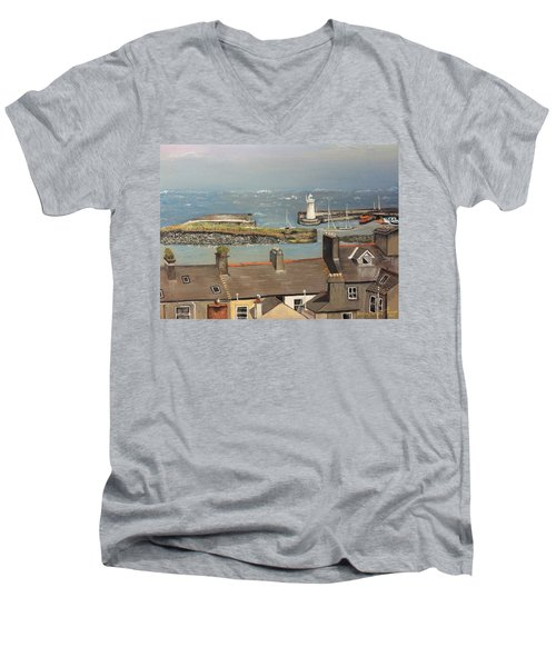 Men's V-Neck T-Shirt featuring the painting Donaghadee Ireland Irish Sea by Brenda Brown