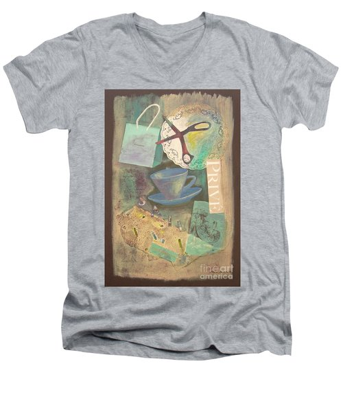 Men's V-Neck T-Shirt featuring the painting Don't Be Blue by Mini Arora