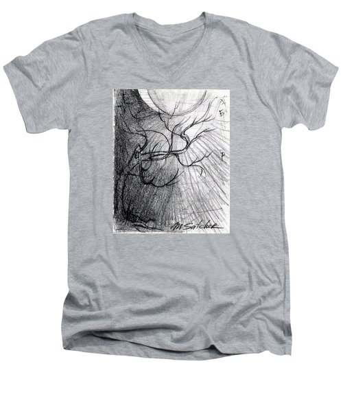Men's V-Neck T-Shirt featuring the drawing Doom Moon  by Mikhail Savchenko