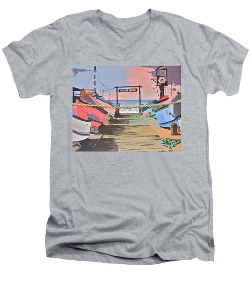 Dory Fishing Fleet -newport Beach Men's V-Neck T-Shirt