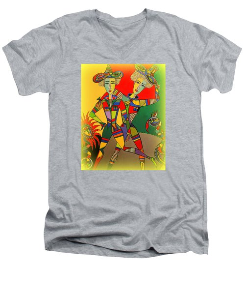 Men's V-Neck T-Shirt featuring the painting Let's Go Brother by Marie Schwarzer