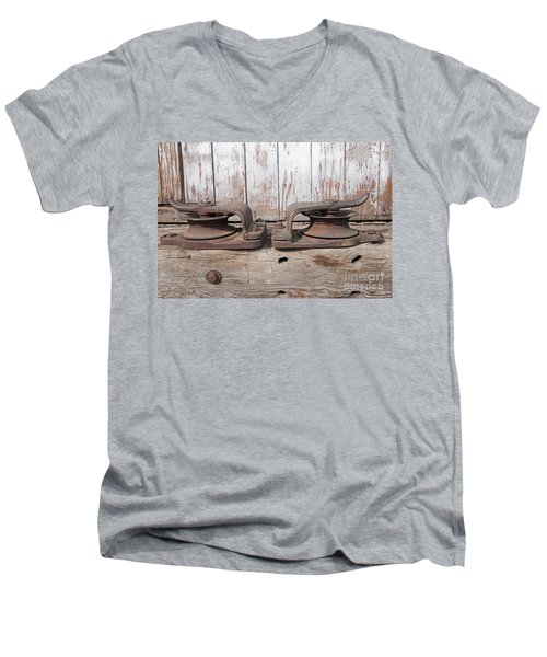Men's V-Neck T-Shirt featuring the photograph Double Pully by Minnie Lippiatt
