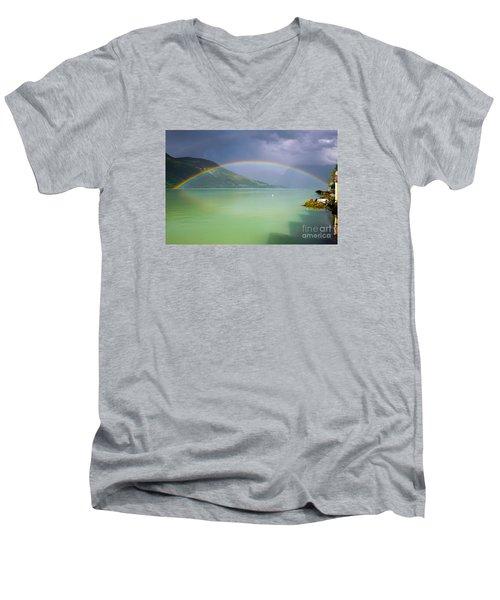 Double Rainbow Men's V-Neck T-Shirt by IPics Photography