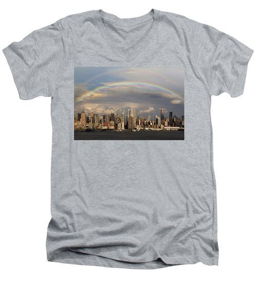 Double Rainbow Over Nyc Men's V-Neck T-Shirt by Susan Candelario