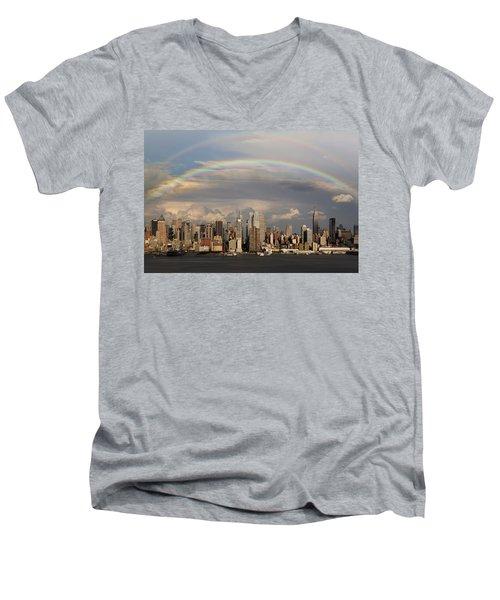 Double Rainbow Over Nyc Men's V-Neck T-Shirt