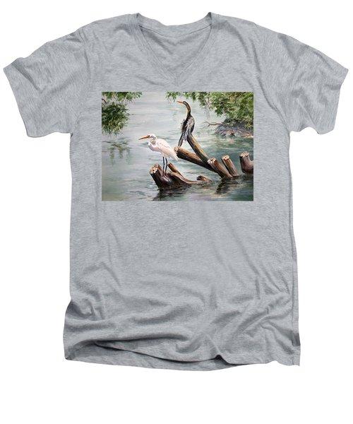 Double Trouble Men's V-Neck T-Shirt by Roxanne Tobaison