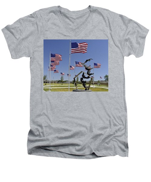 Men's V-Neck T-Shirt featuring the photograph Doves And Flags by Allen Sheffield