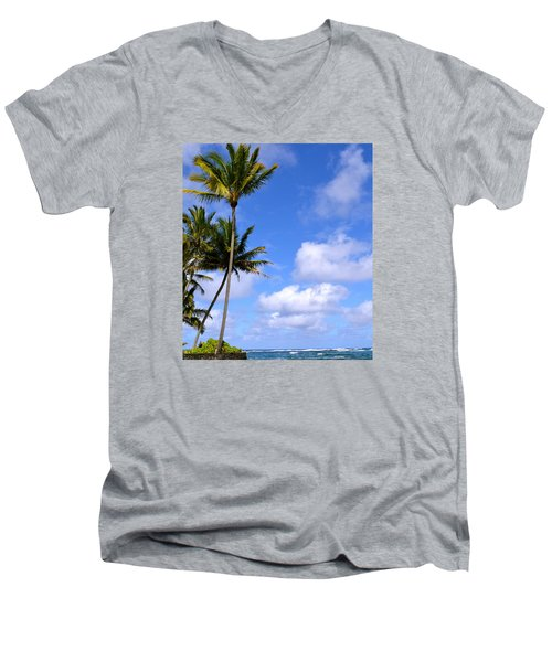 Down By The Ocean In Hawaii Men's V-Neck T-Shirt by Lehua Pekelo-Stearns