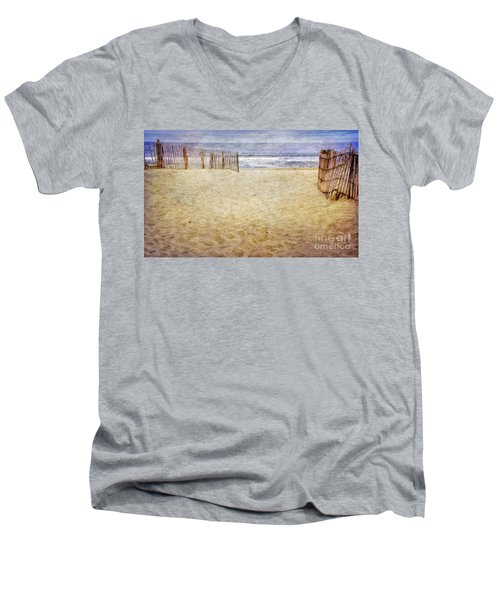 Men's V-Neck T-Shirt featuring the photograph Down The Shore by Debra Fedchin