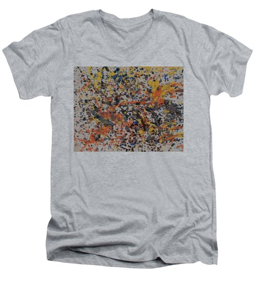 Men's V-Neck T-Shirt featuring the painting Down With Disease by Thomasina Durkay