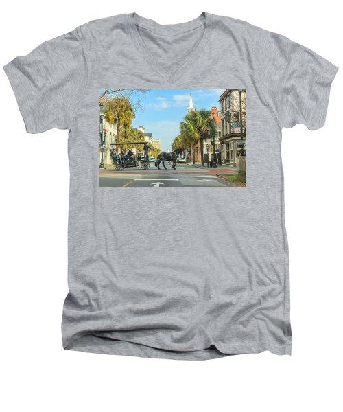 Downtown Charleston Stroll Men's V-Neck T-Shirt