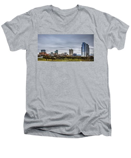 Downtown Fort Worth Trinity Trail Men's V-Neck T-Shirt by Jonathan Davison