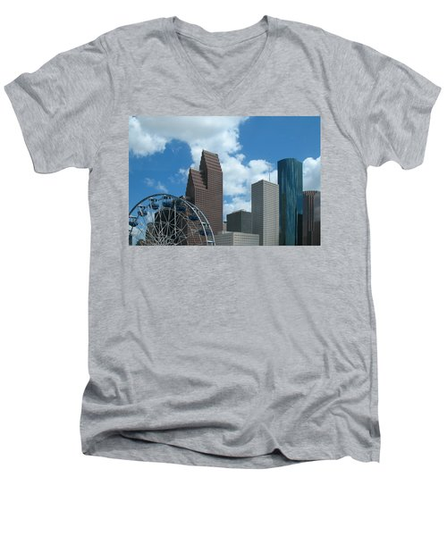 Downtown Houston With Ferris Wheel Men's V-Neck T-Shirt by Connie Fox