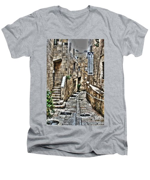 Men's V-Neck T-Shirt featuring the photograph Downtown In Jerusalems Old City by Doc Braham