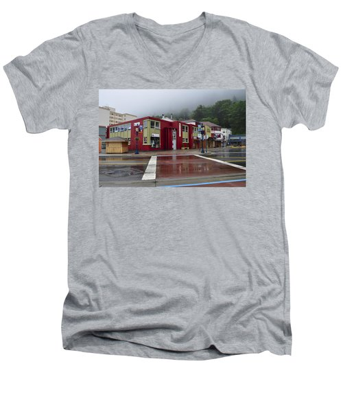 Men's V-Neck T-Shirt featuring the photograph Downtown Juneau On A Rainy Day by Cathy Mahnke