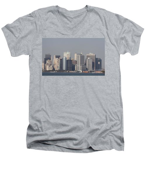 Downtown Manhattan Shot From The Staten Island Ferry Men's V-Neck T-Shirt by John Telfer
