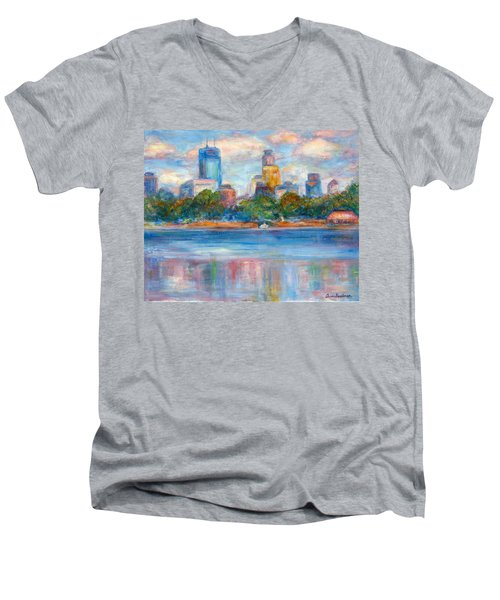 Downtown Minneapolis Skyline From Lake Calhoun II - Or Commission Your City Painting Men's V-Neck T-Shirt