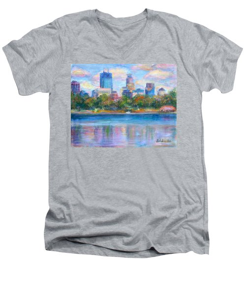 Downtown Minneapolis Skyline From Lake Calhoun Men's V-Neck T-Shirt by Quin Sweetman