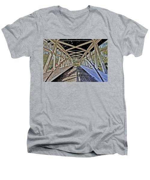 Men's V-Neck T-Shirt featuring the photograph Dr. Knisely Covered Bridge by Suzanne Stout