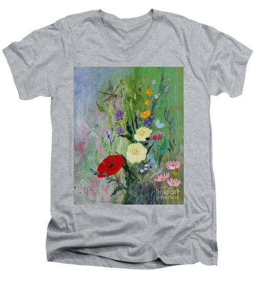 Dragonflies Dancing Men's V-Neck T-Shirt by Robin Maria Pedrero