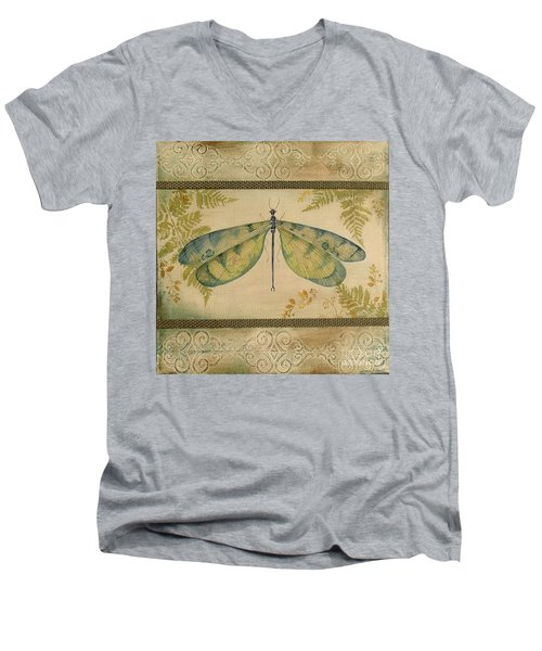 Dragonfly Among The Ferns-1 Men's V-Neck T-Shirt by Jean Plout