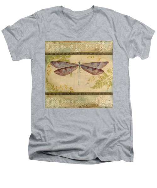 Dragonfly Among The Ferns-3 Men's V-Neck T-Shirt by Jean Plout