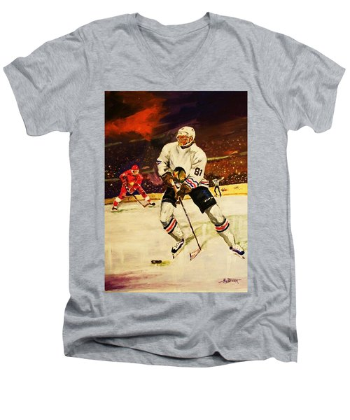 Men's V-Neck T-Shirt featuring the painting Drama On Ice by Al Brown