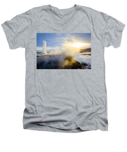 Men's V-Neck T-Shirt featuring the photograph Drawn To The Sun by Peta Thames