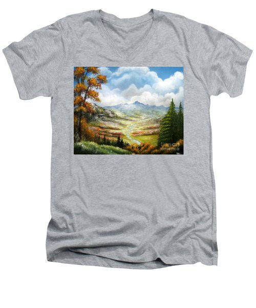 Men's V-Neck T-Shirt featuring the painting Dreamin On by Patrice Torrillo
