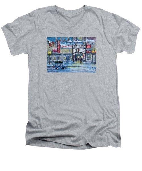 Dreaming Of A White Christmas Men's V-Neck T-Shirt by Rita Brown