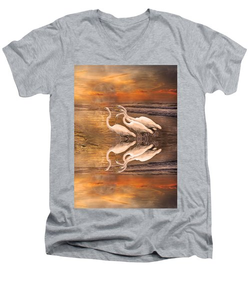 Dreaming Of Egrets By The Sea Reflection Men's V-Neck T-Shirt by Betsy Knapp