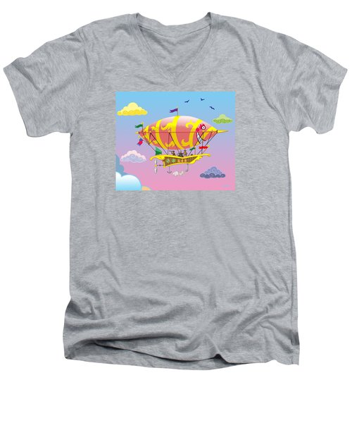 Men's V-Neck T-Shirt featuring the mixed media Rainbow Steampunk Dreamship by J L Meadows