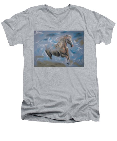 Men's V-Neck T-Shirt featuring the pastel Dreamworks by Peter Suhocke
