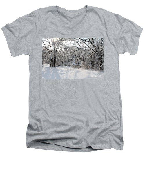 Men's V-Neck T-Shirt featuring the photograph Dressed In Snow by Nina Silver