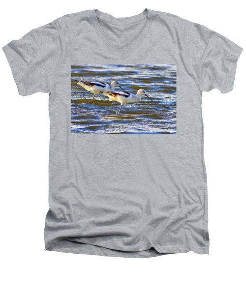 Men's V-Neck T-Shirt featuring the photograph Dribbling Contest by Gary Holmes