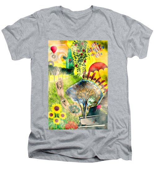 Men's V-Neck T-Shirt featuring the mixed media Drifting Away by Ally  White