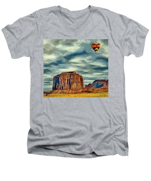 Men's V-Neck T-Shirt featuring the painting Drifting Over Monument Valley by Jeff Kolker