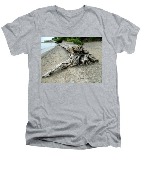 Men's V-Neck T-Shirt featuring the photograph Driftwood At Lake Erie by Kathy Barney