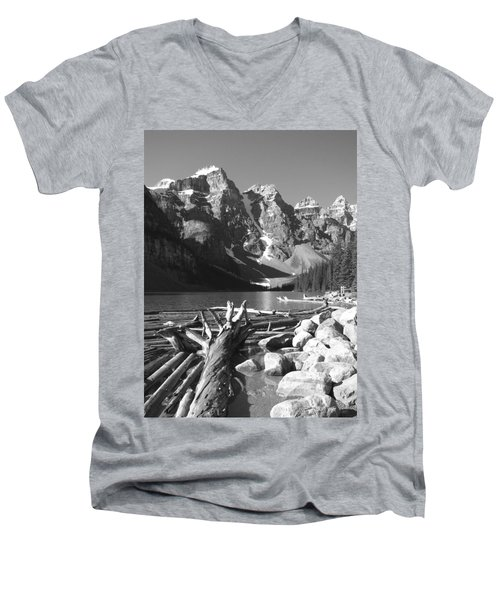 Driftwood - Black And White Men's V-Neck T-Shirt by Marcia Socolik