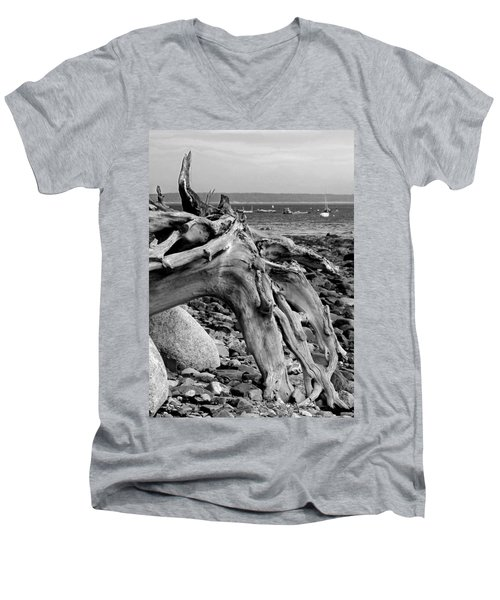 Driftwood On Rocky Beach Men's V-Neck T-Shirt