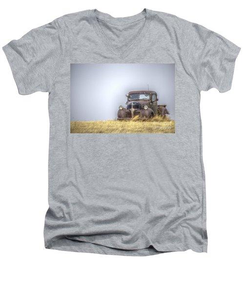 A Rusty Abandoned Truck Near Sturgis South Dakota Men's V-Neck T-Shirt