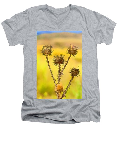 Dry Brown Thistle Men's V-Neck T-Shirt
