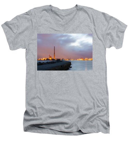 Dublin Port At Night Men's V-Neck T-Shirt