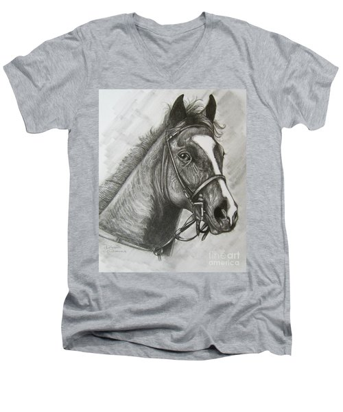 Men's V-Neck T-Shirt featuring the drawing Dullahan by Patrice Torrillo