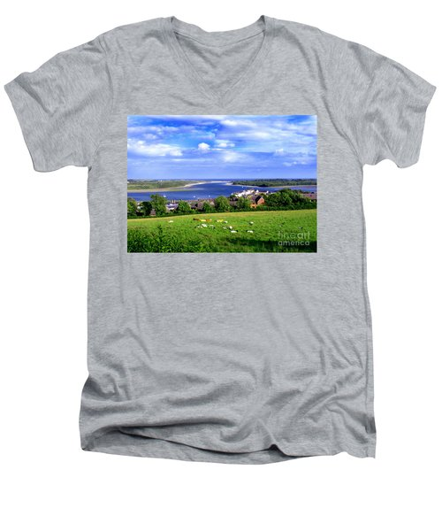 Dundrum Bay Irish Coastal Scene Men's V-Neck T-Shirt by Nina Ficur Feenan